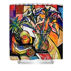 Still Life With Fruit And Calla Lilies Shower Curtain by Everett Spruill