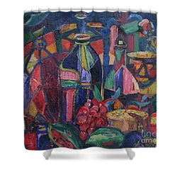 Still Life With Grapes Shower Curtain by Avonelle Kelsey