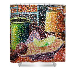 Still Life With Green Jug Painting Shower Curtain by Caroline Street