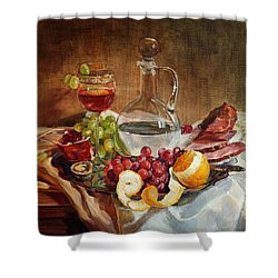 Still Life With Meat And Wine Shower Curtain