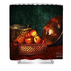 Shower Curtain featuring the digital art Still Life With Peaches And Copper Bowl by Lianne Schneider