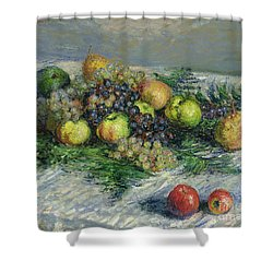 Still Life With Pears And Grapes Shower Curtain by Claude Monet