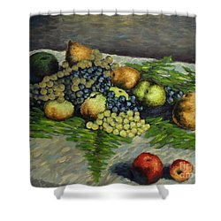 Still Life With Pears And Grapes Shower Curtain