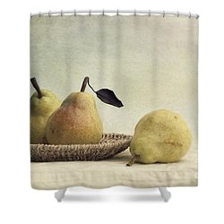 Still Life With Pears Shower Curtain by Priska Wettstein