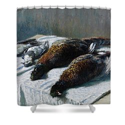 Still Life With Pheasants And Plovers Shower Curtain by Claude Monet
