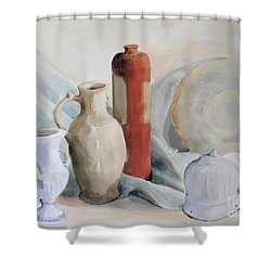 Shower Curtain featuring the painting Still Life With Pottery And Stone by Greta Corens