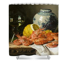 Still Life With Prawns And Lemon Shower Curtain by Edward Ladell