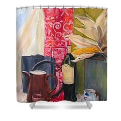 Shower Curtain featuring the painting Still Life With Red Cloth And Pottery by Greta Corens