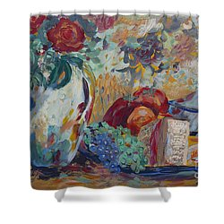 Shower Curtain featuring the painting Still Life With Roses by Avonelle Kelsey