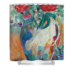 Shower Curtain featuring the painting Still Life With Roses Partial View by Avonelle Kelsey