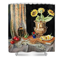Still Life With Sunflowers Lemon Apples And Geranium  Shower Curtain by Irina Sztukowski