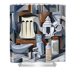 Still Life With Teapots Shower Curtain by Catherine Abel