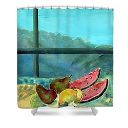 Still Life With Watermelon Shower Curtain by Marisa Leon