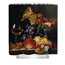 Still Life With Wine Glass And Silver Tazz Shower Curtain by Edward Ladell