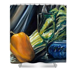 Still Life With Yellow Pepper Bok Choy Glass And Dish Shower Curtain by Donna Tuten