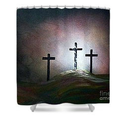 Shower Curtain featuring the painting Still The Light by Eloise Schneider
