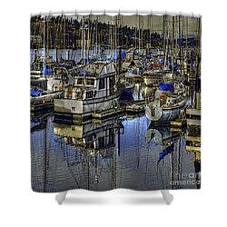 Shower Curtain featuring the photograph Still Water Masts by Jean OKeeffe Macro Abundance Art