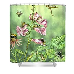 Stinging Insects In Garden Scene Shower Curtain by Laurie O'Keefe