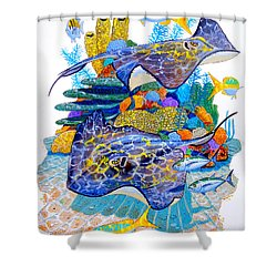 Stingray Play Shower Curtain by Carey Chen