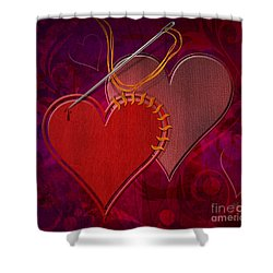 Stitched Hearts Shower Curtain by Bedros Awak
