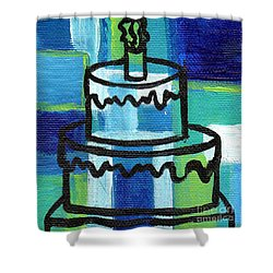 Stl250 Birthday Cake Blue And Green Small Abstract Shower Curtain by Genevieve Esson