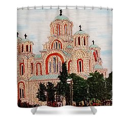 Shower Curtain featuring the painting St.marko Church Belgrade by Jasna Gopic