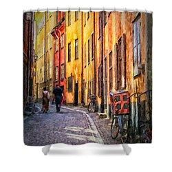Stockholm Gamla Stan Painting Shower Curtain