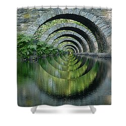 Stone Arch Bridge Over Troubled Waters - 1st Place Winner Faa Optical Illusions 2-26-2012 Shower Curtain by EricaMaxine  Price