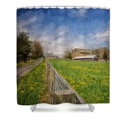 Stone Barn On A Spring Morning Shower Curtain by Lois Bryan