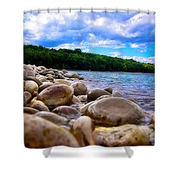 Shower Curtain featuring the photograph Stone Beach by Zafer Gurel
