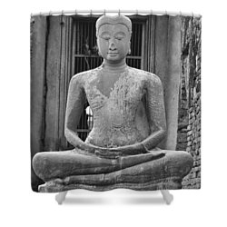 Stone Buddha Shower Curtain by Adam Romanowicz