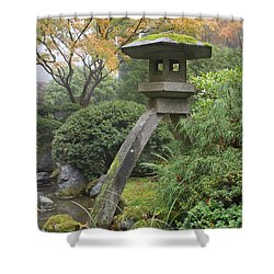 Shower Curtain featuring the photograph Stone Lantern In Japanese Garden by JPLDesigns