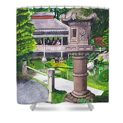 Stone Lantern Shower Curtain by Mike Robles