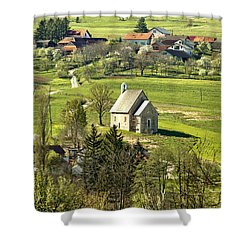 Stone Made Church In Green Nature Shower Curtain
