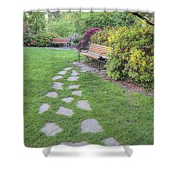 Stone Steps To Park Bench Shower Curtain by Jit Lim