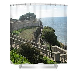 Stone Wall Over The Sea Shower Curtain