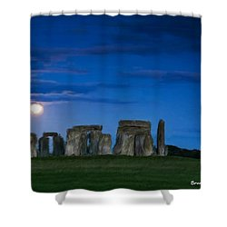 Shower Curtain featuring the painting Stonehenge At Night by Bruce Nutting