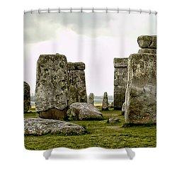 Stonehenge Panorama Shower Curtain by Jon Berghoff