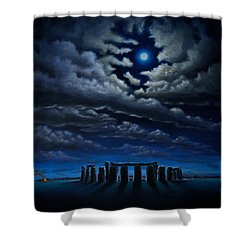 Shower Curtain featuring the painting Stonehenge - The People's Circle by Ric Nagualero