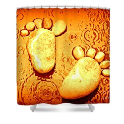 Stoney In The Rain Shower Curtain by Clare Bevan