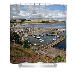 Stonhaven Harbour  Scotland Shower Curtain by Jeremy Voisey