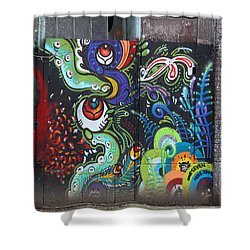 Stop For Skull Mural Graffiti Shower Curtain by Kym Backland