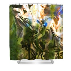 Shower Curtain featuring the digital art Stork In The Music Garden by Richard Thomas