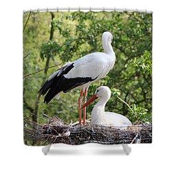 Storks Nesting Shower Curtain