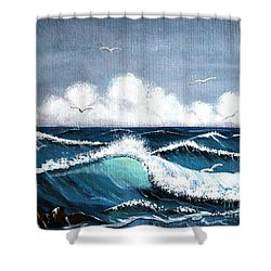 Storm At Sea Shower Curtain by Barbara Griffin