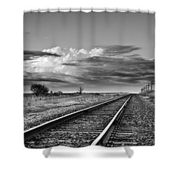 Storm Cloud Above Rail Road Tracks Shower Curtain