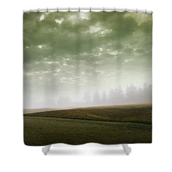 Storm Clouds And Foggy Hills Shower Curtain by Vast Photography