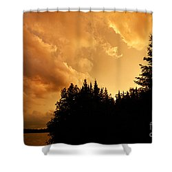 Storm Clouds At Sunset Shower Curtain by Larry Ricker