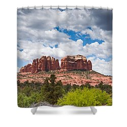 Shower Curtain featuring the photograph Storm Clouds Over Cathedral Rocks by Jeff Goulden