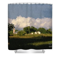 Storm Clouds Over Michigan Farm At Sunrise Shower Curtain